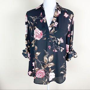soho New York & Company Floral Long Sleeve Blouse